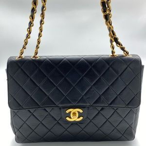 Chanel Vintage Jumbo CC Quilted Flap Bag